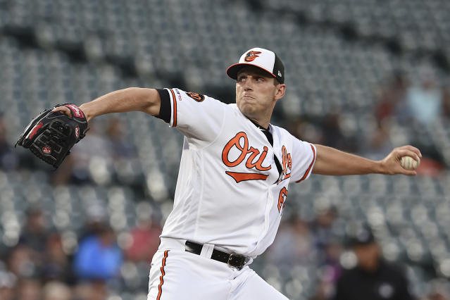 Baltimore Orioles pitcher John Means throws against the Chicago White Sox in the first inning of a baseball game, Wednesday, April 24, 2019, in Baltimore. (AP Photo/Gail Burton)