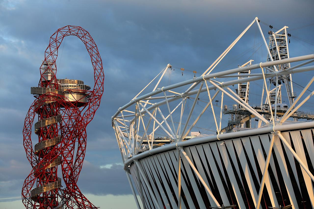LONDON, ENGLAND - AUGUST 02: The ArcelorMittal Orbit and Olympics Stadium are seen at Olympic Park on August 2, 2012 in London, England.  (Photo by Cameron Spencer/Getty Images)