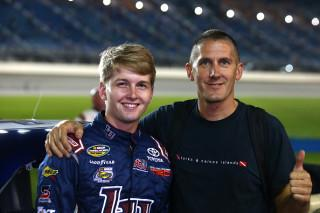 William Byron with his crew chief and mentor in Legends racing, Dennis Lambert. (Photo by Sarah Crabill/Getty Images)