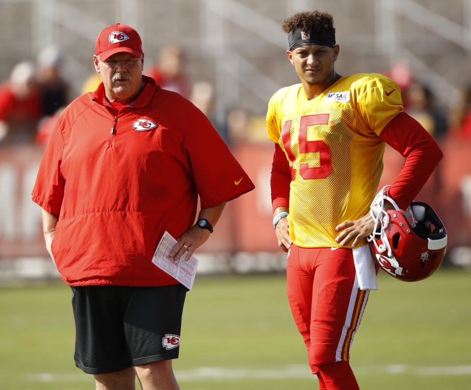 Quarterback whisperer and Chiefs head coach Andy Reid saw Patrick Mahomes' potential early on, agreeing K.C. needed to draft him in 2017. (AP)