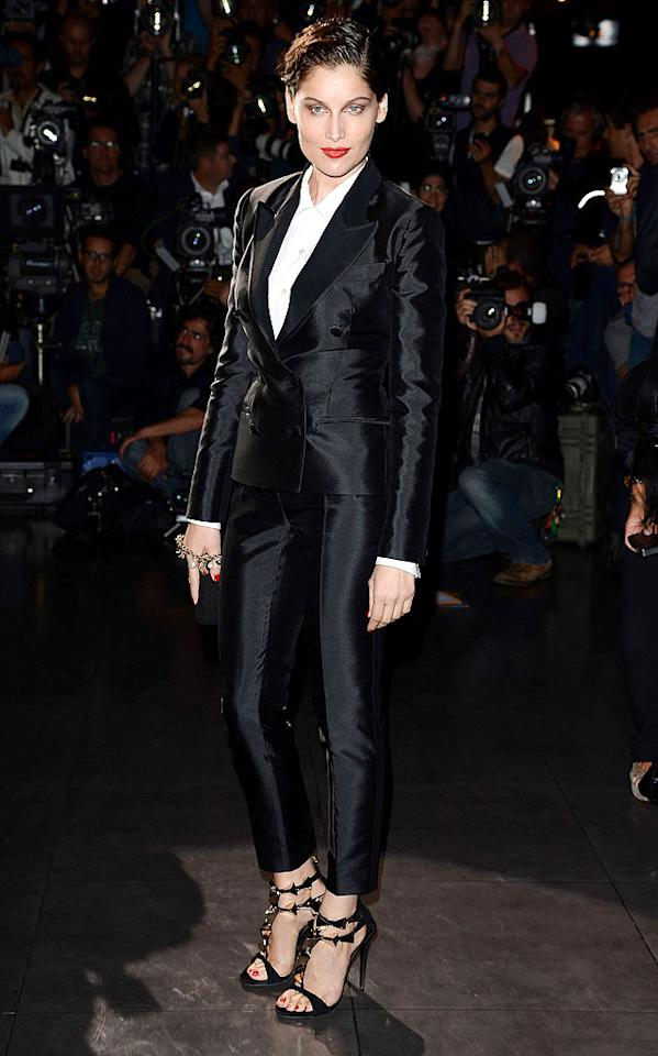 "Presenting French model Laetitia Casta in a D&G tux and the hottest pair of heels we've seen in quite some time. 'nuff said! (9/23/2012)<br><br><a target=""_blank"" href=""http://omg.yahoo.com/blogs/now/lady-gaga-steals-elizabeth-hurley-iconic-dress-180527761.html"">Lady Gaga steals Elizabeth Hurley's iconic dress</a>"