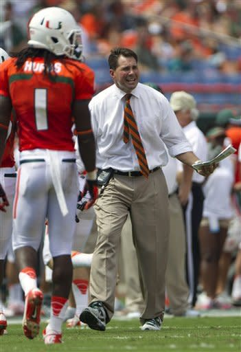 Miami coach Al Golden reacts after his players missed a kick off against North Carolina State during the first half of an NCAA college football game in Miami, Saturday, Sept. 29, 2012. (AP Photo/J Pat Carter)