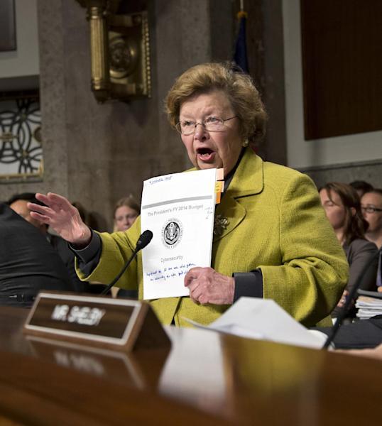 Sen. Barbara Mikulski, D-Md., chairwoman of the Senate Appropriations Committee, opens a hearing on cybersecurity with Gen. Keith B. Alexander, director of the National Security Agency, as a primary witness, on Capitol Hill in Washington, Wednesday, June 12, 2013. (AP Photo/J. Scott Applewhite)
