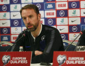 England's head coach Gareth Southgate gestures during a press conference before the Euro 2020 group A qualifying soccer match between Kosovo and England in capital Pristina, Kosovo, Saturday, Nov. 16, 2019. England will play Kosovo in a Euro qualifier match on Sunday. (AP Photo/Visar Kryeziu)