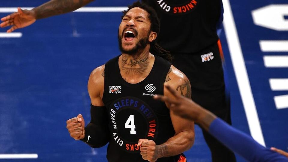 Derrick Rose yells after Game 2 win