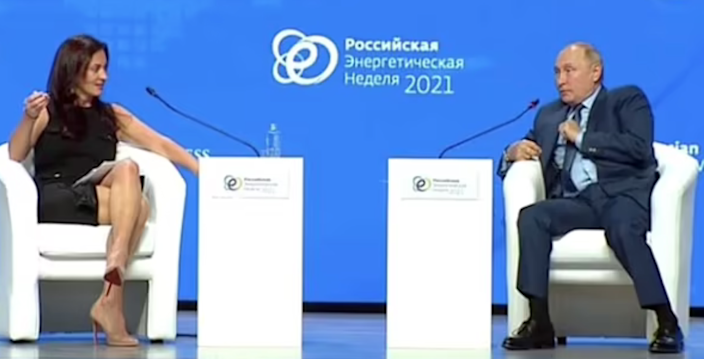Hadley Gamble and Vladimir Putin got into a heated discussion at Russia Energy Week in Moscow (Moskva24)