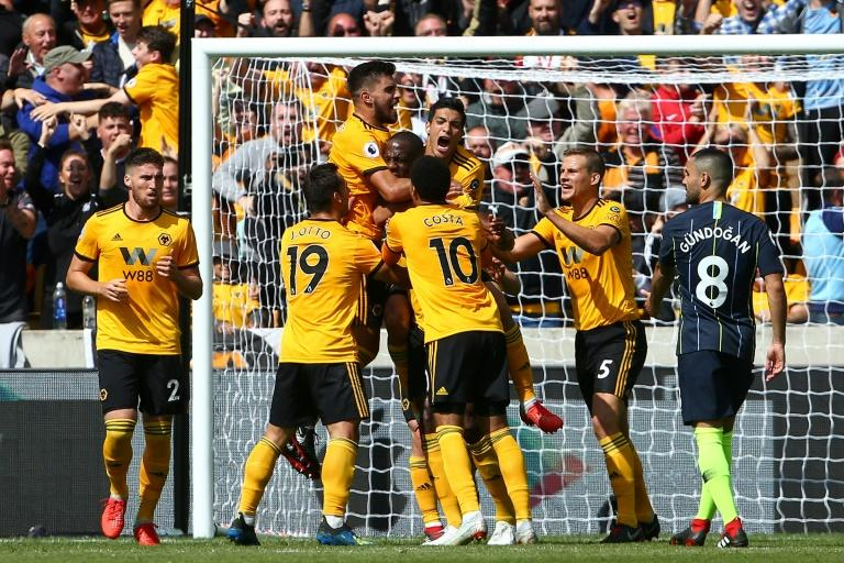 Pack of Wolves: Willy Boly celebrates a controversial opening goal against Manchester City