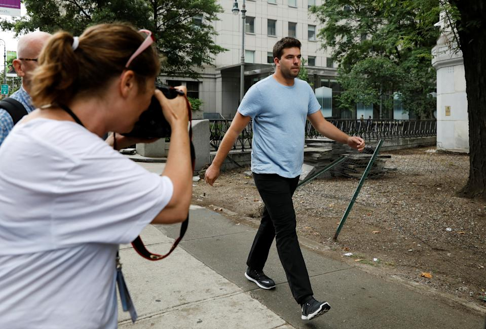 William 'Billy' McFarland, organizer of the Fyre Festival, exits the U.S. Federal Court in Manhattan following his presentment on wire fraud charges in New York City, U.S., July 1, 2017. REUTERS/Brendan McDermid