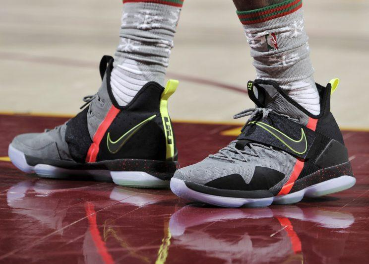 LeBron James' Christmas Day shoes. (Getty Images)