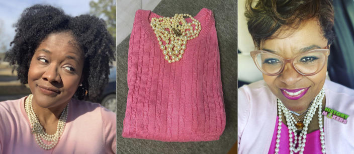 In this combination photo, Robyn Sherman appears in a selfie wearing a pink sweater with pearls, from left, a pink sweater and pearls appear in an image posted by Andrea Morgan and a selfie of Sondrea Tolbert shows her wearing pink with pearls to celebrate the inauguration of Vice President Kamala Harris. Alpha Kappa Alpha declared on Twitter that Jan. 20 would be Soror Kamala D. Harris Day and encouraged members to share photos of their celebrations with the hashtag #KamalaHarrisDay. (Robyn Sherman, from left, Andrea Morgan and Sondrea Tolbert via AP)
