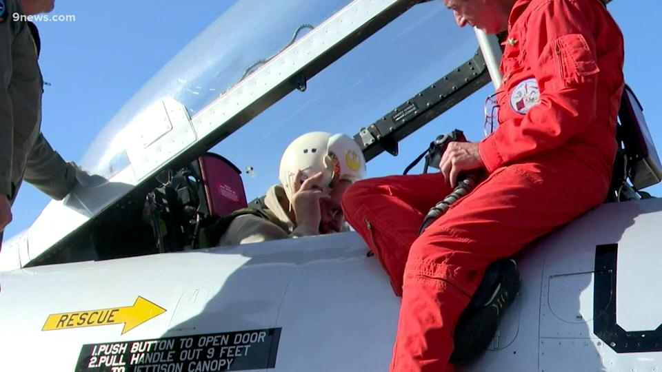 At 90 years old, Vietnam combat pilot Clyde Bridger returned to the cockpit of a T-33 fighter jet--the same kind he flew 65 years ago.
