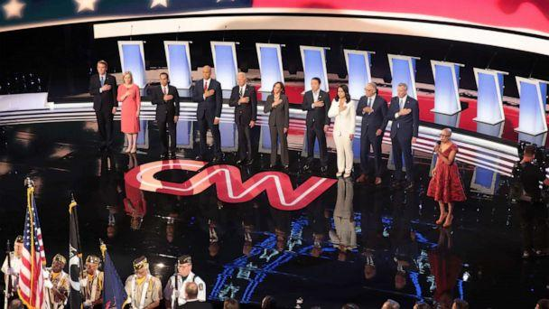 PHOTO: Democratic presidential candidates take the stage at the Democratic Presidential Debate, July 31, 2019, in Detroit. (Scott Olson/Getty Images)