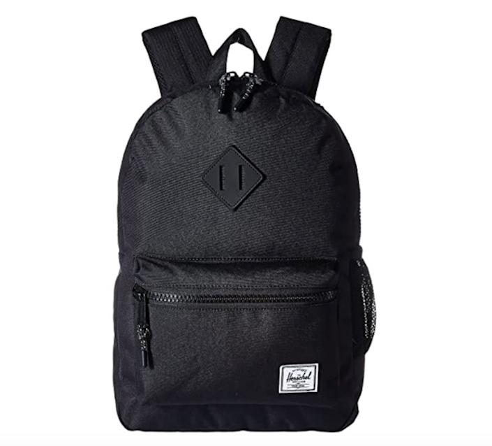 """Find this <a href=""""https://fave.co/2ByRaWL"""" rel=""""nofollow noopener"""" target=""""_blank"""" data-ylk=""""slk:Herschel Supply Co. Kids Heritage Youth backpack"""" class=""""link rapid-noclick-resp"""">Herschel Supply Co. Kids Heritage Youth backpack</a> for $44 at <a href=""""https://fave.co/2ByRaWL"""" rel=""""nofollow noopener"""" target=""""_blank"""" data-ylk=""""slk:Zappos"""" class=""""link rapid-noclick-resp"""">Zappos</a>."""