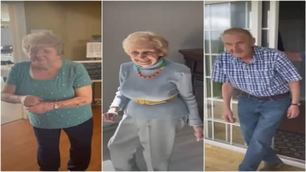 Residents of the Alderwood Retirement Centre in Witless Bay, N.L., shimmy and shake in a YouTube video aimed at persuading the provincial government to loosen its COVID-19 dancing restrictions in care homes.  (Brian Downton/YouTube - image credit)