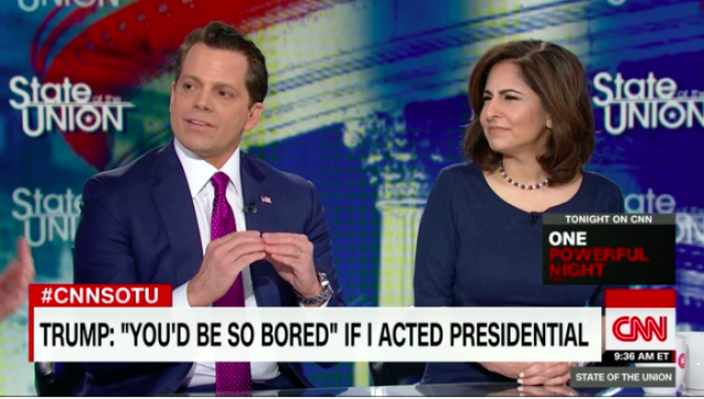 """""""You guys don't like his style, but he's making a very big point out there,"""" Anthony Scaramucci said. (CNN)"""