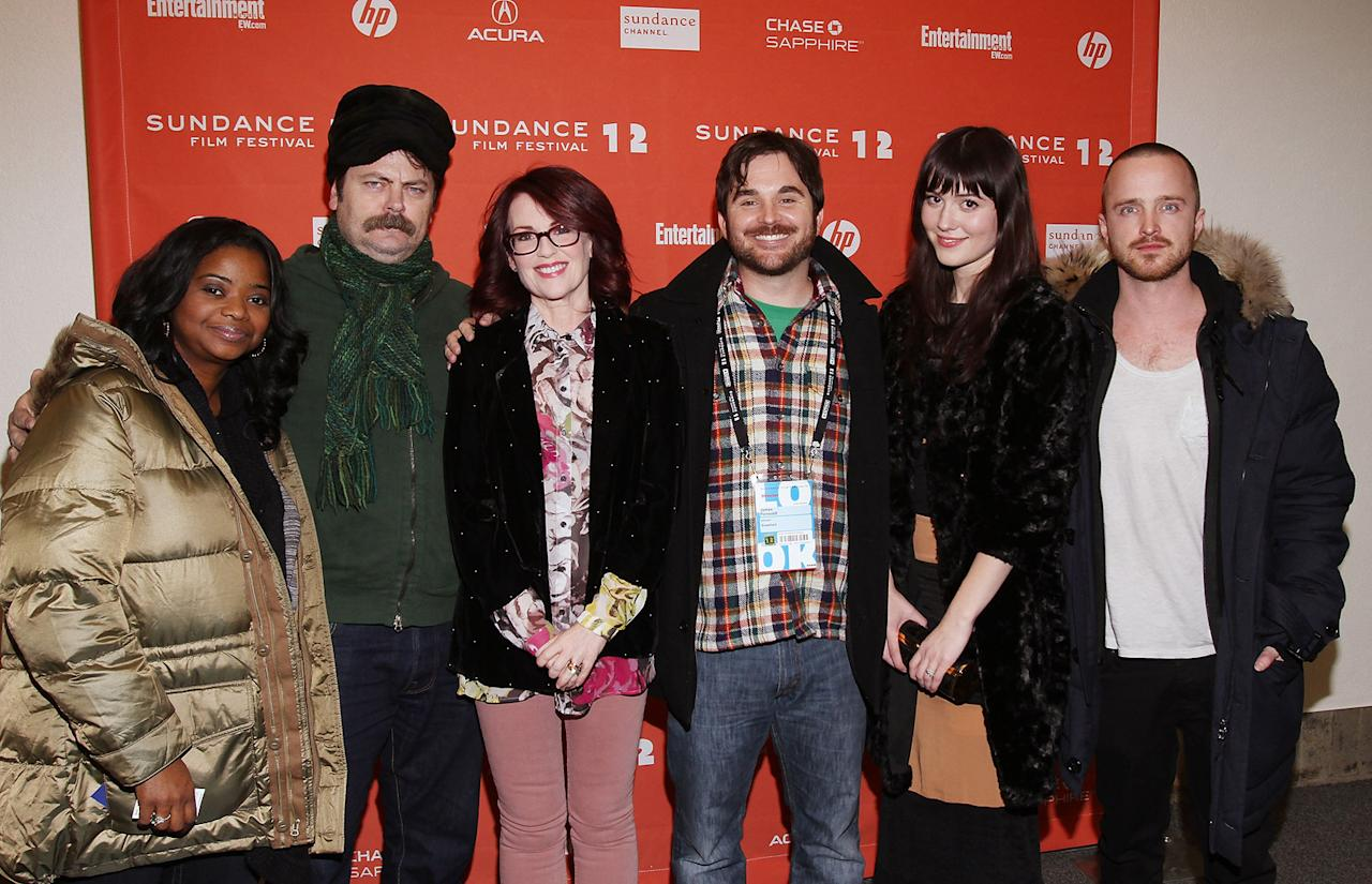 "Octavia Spencer, Nick Offerman, Megan Mullally, James Ponsoldt, Mary Elizabeth Winstead and Aaron Paul at the 2012 Sundance Film Festival premiere of ""Smashed"" on January 22, 2012."