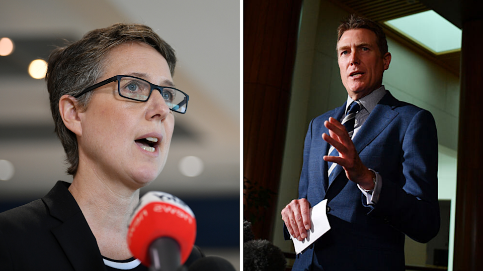 ACTU Sally McManus (left) has been at loggerheads with Minister for Industrial Relations Christian Porter (right) over the Industrial Relations Reform package. (Source: Getty, AAP)
