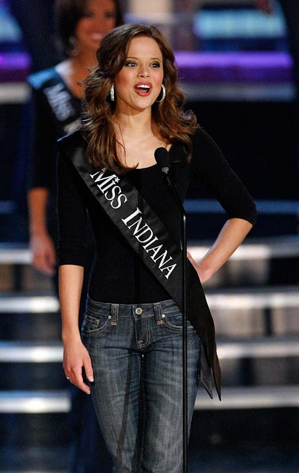 """Katie R. Stam, Miss Indiana, introduces herself during the<a href=""""/miss-america-countdown-to-the-crown/show/44013"""">2009 Miss America Pageant</a> at the Planet Hollywood Resort & Casino January 24, 2009 in Las Vegas, Nevada. Stam went on to be crowned the new Miss America."""