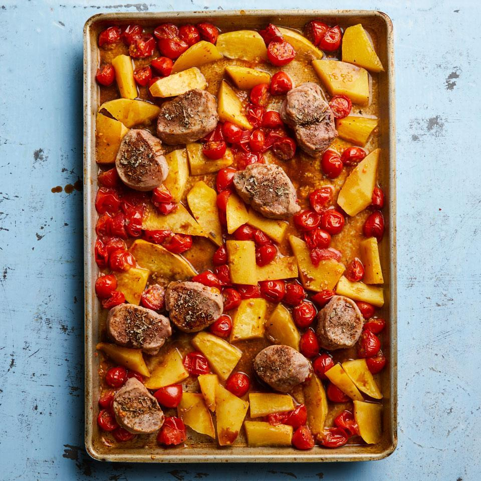 """<p>Rutabaga is a root vegetable that tastes like cabbage and turnips had a baby. Start roasting it in the oven first while you prep the tomatoes and pork. As the tomatoes cook, they burst and create a delicious sauce to mix with the balsamic vinegar at the end. <a href=""""http://www.eatingwell.com/recipe/262737/sheet-pan-pork-cherry-tomatoes/"""" rel=""""nofollow noopener"""" target=""""_blank"""" data-ylk=""""slk:View recipe"""" class=""""link rapid-noclick-resp""""> View recipe </a></p>"""