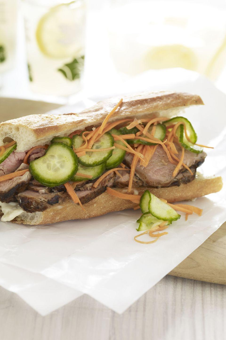 """<p>Sweet and savory pork? Pickled veggies? Get inspired by the bold flavors found in a <em>bánh mì</em>, the Vietnamese street-stall sub. You won't regret it. </p><p><a href=""""https://www.goodhousekeeping.com/food-recipes/a10311/lemongrass-pork-sandwich-recipe-ghk0810/"""" rel=""""nofollow noopener"""" target=""""_blank"""" data-ylk=""""slk:Get the recipe for Lemongrass Pork Sandwich »"""" class=""""link rapid-noclick-resp""""><em>Get the recipe for Lemongrass Pork Sandwich »</em></a></p>"""