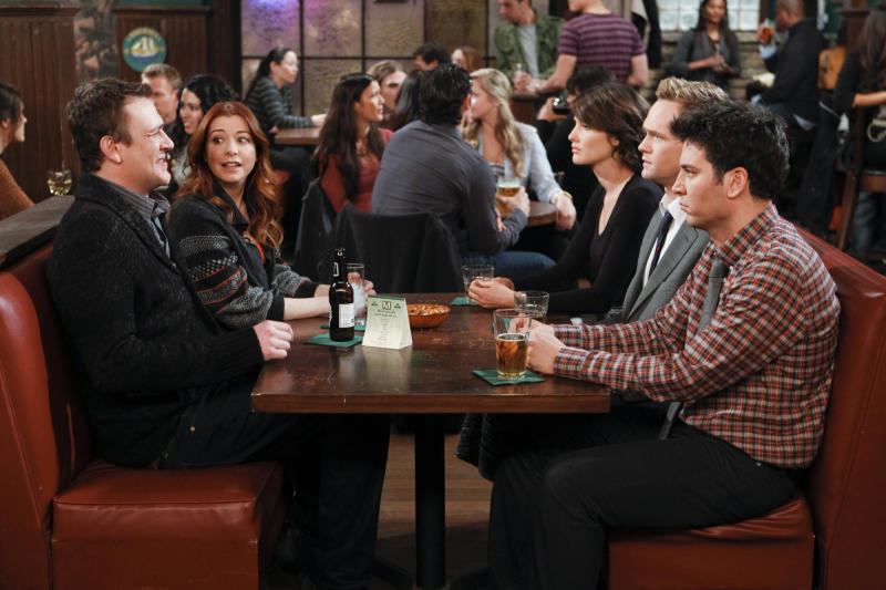 "In this image released by CBS, from left, Jason Segel, Alyson Hannigan, Cobie Smulders, Neil Patrick Harris, and Josh Radnor are shown in a scene from ""How I Met Your Mother."" The comedy is the closest TV has to a modern-day ""Friends."" It started at a time, in 2005, when networks were desperate to replace that beloved NBC series and the namesake gimmick distinguished it from other wanna-bes. The series opened with kids on a couch impatiently listening to narrator Bob Saget, as Ted circa 2030, explains how their parents met.  (AP Photo/CBS, Monty Brinton)"