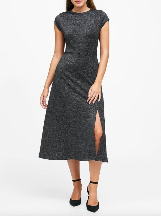 """<p>The cap sleeves balance out the thigh-high slit on this office-friendly <a href=""""https://www.popsugar.com/buy/Metallic-Midi-Dress-Slit-526047?p_name=Metallic%20Midi%20Dress%20With%20Slit&retailer=bananarepublic.gap.com&pid=526047&price=119&evar1=fab%3Auk&evar9=46964732&evar98=https%3A%2F%2Fwww.popsugar.com%2Ffashion%2Fphoto-gallery%2F46964732%2Fimage%2F46964741%2FMetallic-Midi-Dress-With-Slit&prop13=api&pdata=1"""" rel=""""nofollow"""" data-shoppable-link=""""1"""" target=""""_blank"""" class=""""ga-track"""" data-ga-category=""""Related"""" data-ga-label=""""http://bananarepublic.gap.com/browse/product.do?pid=517551002&amp;cid=1121080&amp;pcid=69883&amp;vid=1&amp;grid=pds_42_398_1#pdp-page-content"""" data-ga-action=""""In-Line Links"""">Metallic Midi Dress With Slit</a> ($119).</p>"""