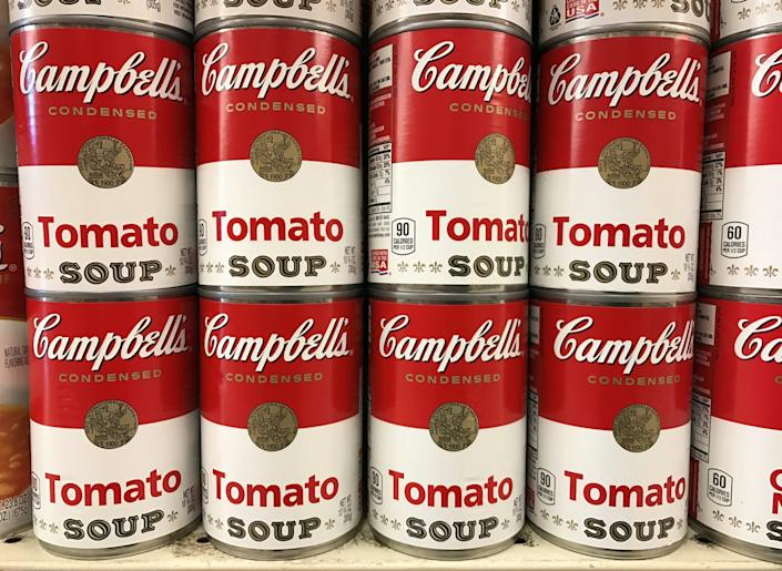 campbells soup cans Tins of Campbell's Tomato Soup are seen on a supermarket shelf in Seattle, Washington, U.S. February 10, 2017. REUTERS/Chris Helgren
