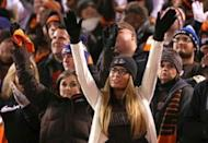 Cleveland Browns fans cheer in the stands at FirstEnergy Stadium. The Ravens won 33-27. Mandatory Credit: Aaron Doster-USA TODAY Sports
