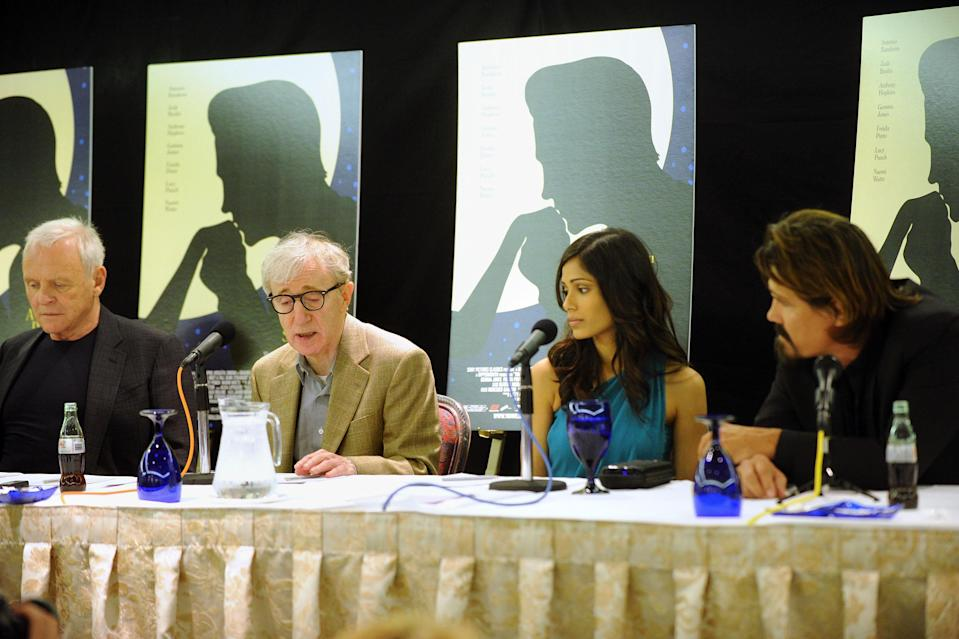 From left to right, Anthony Hopkins, Woody Allen, Freida Pinto and Josh Brolin speak about <em>You Will Meet a Tall Dark Stranger</em> at the 2010 Toronto International Film Festival on Sept. 12, 2010, in Toronto. (Photo: Jason Merritt/Getty Images)