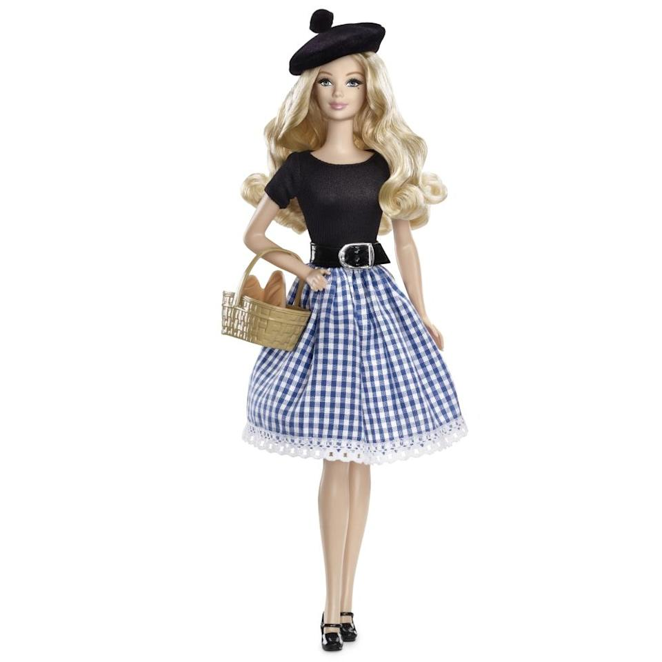 """<div class=""""caption-credit"""">Photo by: Mattel.com</div><b><div class=""""caption-title"""">France Barbie</div></b>The newest France Barbie doll has nothing in common with the 1980 version other than blonde hair. """"The dolls before her, however, were inspired by the culture and landmarks of the cities,"""" Mattel explains. """"This 2013 France Barbie Doll is the first to evoke the simple beauty of the French countryside, of quiet villages and quaint cafes, and landscapes that have inspired world-famous artists and given birth to some of the world's greatest works of art."""" That's a basket of bread on her arm."""