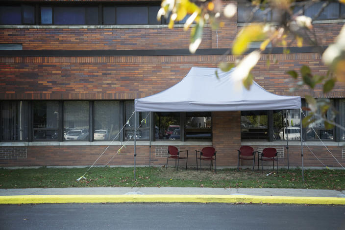 A tent is set up near the windows where visitors can see residents at the Premier Genesee Center for Nursing and Rehabilitation in Batavia, N.Y., on Oct. 9. (Mariana Henninger / NBC News)