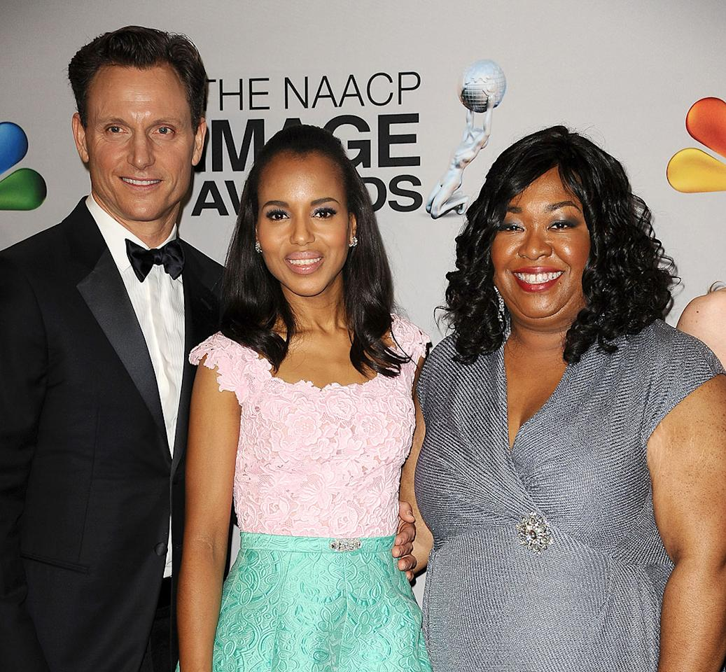 """<a href=""http://tv.yahoo.com/shows/scandal/"">Scandal</a>"" stars Tony Goldwyn and Kerry Washington and ""<a href=""http://tv.yahoo.com/shows/greys-anatomy/"">Grey's Anatomy</a>"" and ""Scandal"" creator Shonda Rhimes are guests of ABC/ABC News."