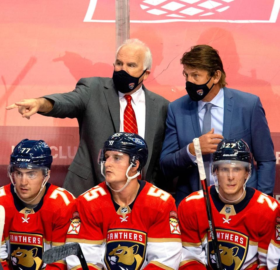 Florida Panthers head coach Joel Quenneville and assistant coach Ulf Samuelsson talk during the third period of the Florida Panthers NHL home opener game against the Chicago Blackhawks at the BB&T Center on Sunday, January 17, 2021 in Sunrise, Fl.