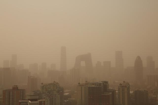 A general view of the skyscrapers in the sandstorm on February 28, 2013 in Beijing, China. (Photo by Feng Li/Getty Images)