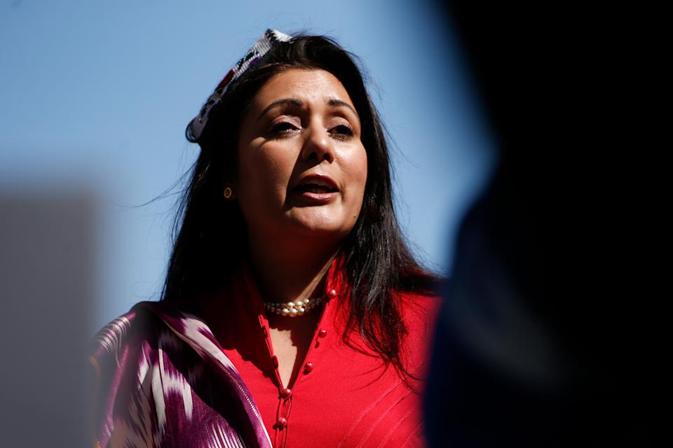 LONDON, UNITED KINGDOM - APRIL 22: Conservative Party MP Nusrat Ghani addresses members of the Uighur community and human rights activists demonstrating outside the Houses of Parliament in London, United Kingdom on April 22, 2021. Members of Parliament today debate and are expected to vote on a motion calling on the House of Commons to declare that Uighur Muslims and other ethnic and religious minorities in China's Xinjiang province are suffering crimes against humanity and genocide. (Photo by David Cliff/Anadolu Agency via Getty Images)