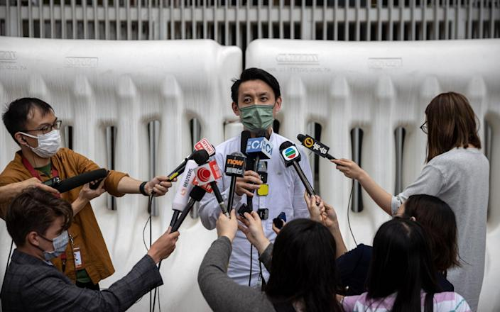Lo Kin-hei speaks to reporters after China's Standing Committee of the National People's Congress approved major changes to the city's electoral system  - JEROME FAVRE/EPA-EFE/Shutterstock