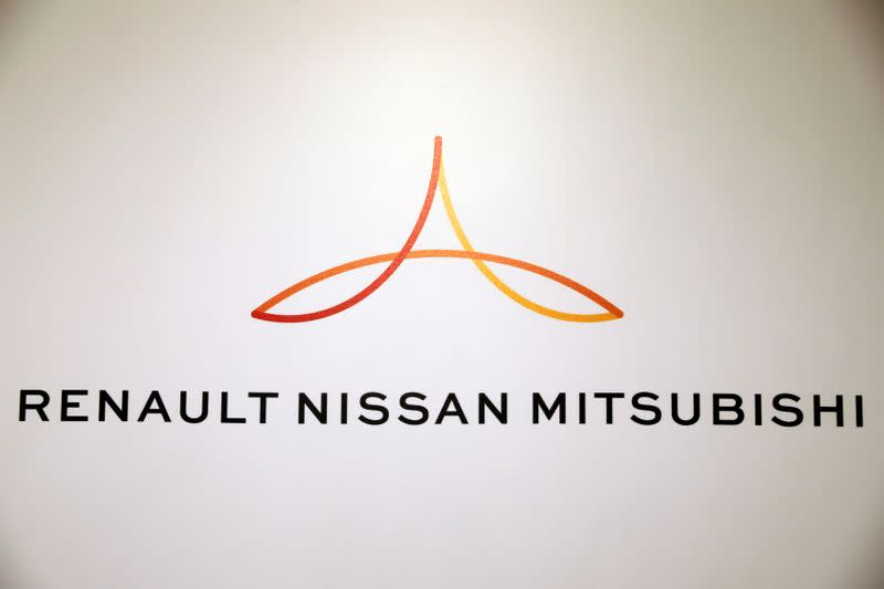 FILE PHOTO: A logo is seen during the inauguration of Renault-Nissan-Mitsubishi's joint innovation lab in Tel Aviv, Israel