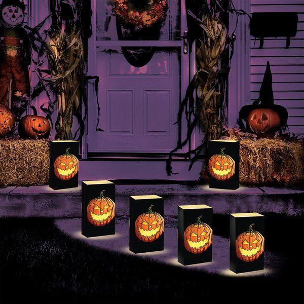 "<p><strong>Luminarias</strong></p><p>wayfair.com</p><p><strong>$22.99</strong></p><p><a href=""https://go.redirectingat.com?id=74968X1596630&url=https%3A%2F%2Fwww.wayfair.com%2Flighting%2Fpdp%2Fluminarias-battery-operated-jack-o-lantern-luminaria-kit-lnh1223.html&sref=https%3A%2F%2Fwww.goodhousekeeping.com%2Fholidays%2Fhalloween-ideas%2Fg4602%2Foutdoor-yard-halloween-decorations%2F"" rel=""nofollow noopener"" target=""_blank"" data-ylk=""slk:Shop Now"" class=""link rapid-noclick-resp"">Shop Now</a></p><p>Instead of turning on a too-bright porch light on Halloween, guide trick-or-treaters to your door with these glowing, battery-operated walkway lanterns. </p>"