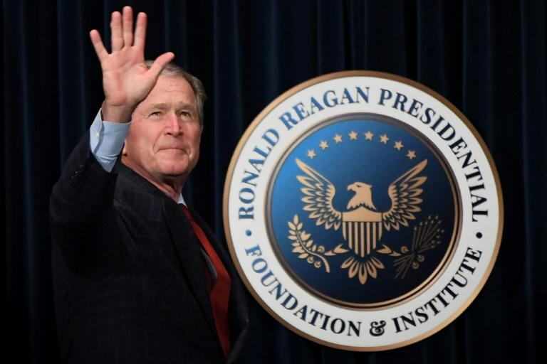 """Former US president George W. Bush visited the Ronald Reagan Presidential Library to promote his book """"Portraits of Courage: A Commander in Chief's Tribute to America's Warriors"""" on March 1, 2017"""