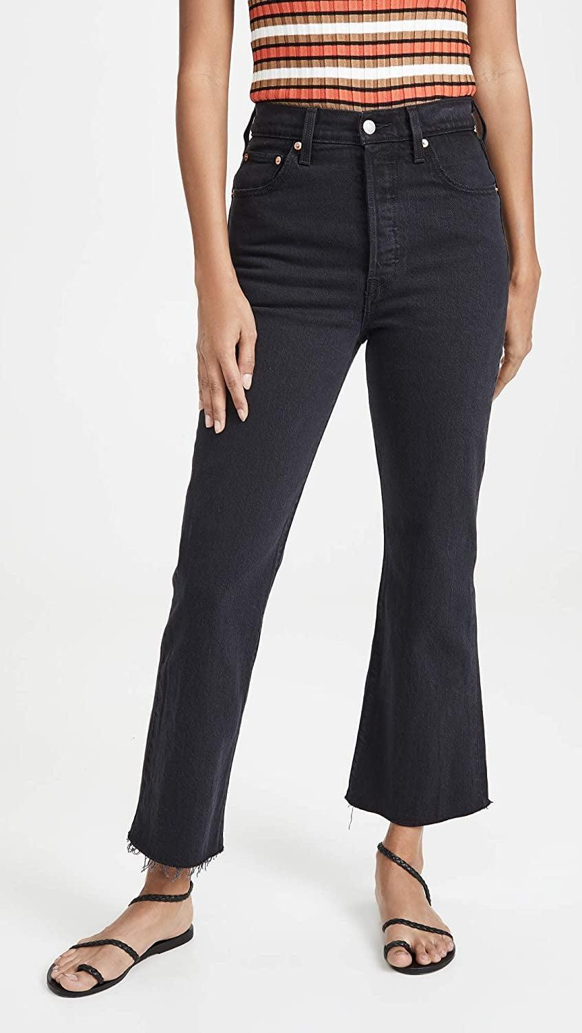 """<p>These <a href=""""https://www.popsugar.com/buy/Levi-Ribcage-Flare-Jeans-585814?p_name=Levi%27s%20Ribcage%20Flare%20Jeans&retailer=amazon.com&pid=585814&price=35&evar1=fab%3Aus&evar9=46804763&evar98=https%3A%2F%2Fwww.popsugar.com%2Ffashion%2Fphoto-gallery%2F46804763%2Fimage%2F46804872%2FThese-High-Flares&list1=shopping%2Cfall%20fashion%2Camazon%2Cfall&prop13=mobile&pdata=1"""" class=""""link rapid-noclick-resp"""" rel=""""nofollow noopener"""" target=""""_blank"""" data-ylk=""""slk:Levi's Ribcage Flare Jeans"""">Levi's Ribcage Flare Jeans</a> ($35) bring the drama in the best way possible.</p>"""