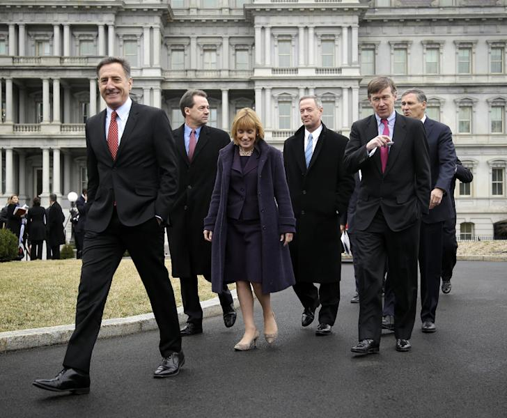 Vermont Gov. Peter Shumlin, left, leads fellow Democratic Governors Associations members along the driveway of the West Wing of the White House in Washington, Friday, Feb. 22, 2013, following their meeting with President Barack Obama and Vice President Joe Biden. From left are, Shumlin, Montana Gov. Steve Bullock, Vermont Gov. Maggie Hassan, Maryland Gov. Martin O'Malley, Colorado Gov. John Hickenlooper, and Washington Gov. Jay Inslee. (AP Photo/Pablo Martinez Monsivais)