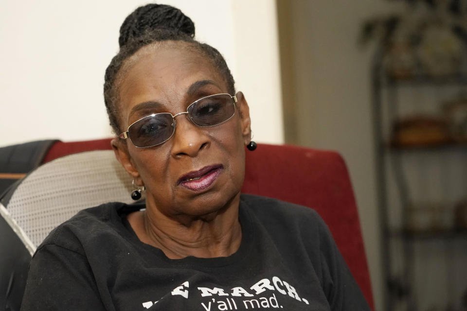 Gloria Green McCray, a younger sister of 17-year-old James Green, one of two men killed by lawmen on the morning of May 15, 1970, on the campus of Jackson State College, recalls her late brother as being both handsome and personable Thursday, May 13, 2021, at her home in Jackson, Miss. Green, a high school student was returning home from work at a convenience store, when killed along with 21-year-old Phillip Gibbs, a married Jackson State student. The school is awarding posthumous honorary doctorate degrees to Gibbs and Green during a Saturday, May 15, 2021, graduation for members of the Class of 1970, whose own graduation was canceled following the violent incident. (AP Photo/Rogelio V. Solis)