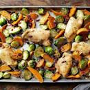 <p>This easy sheet-pan recipe brings together many fall favorites into a hearty dinner.</p>