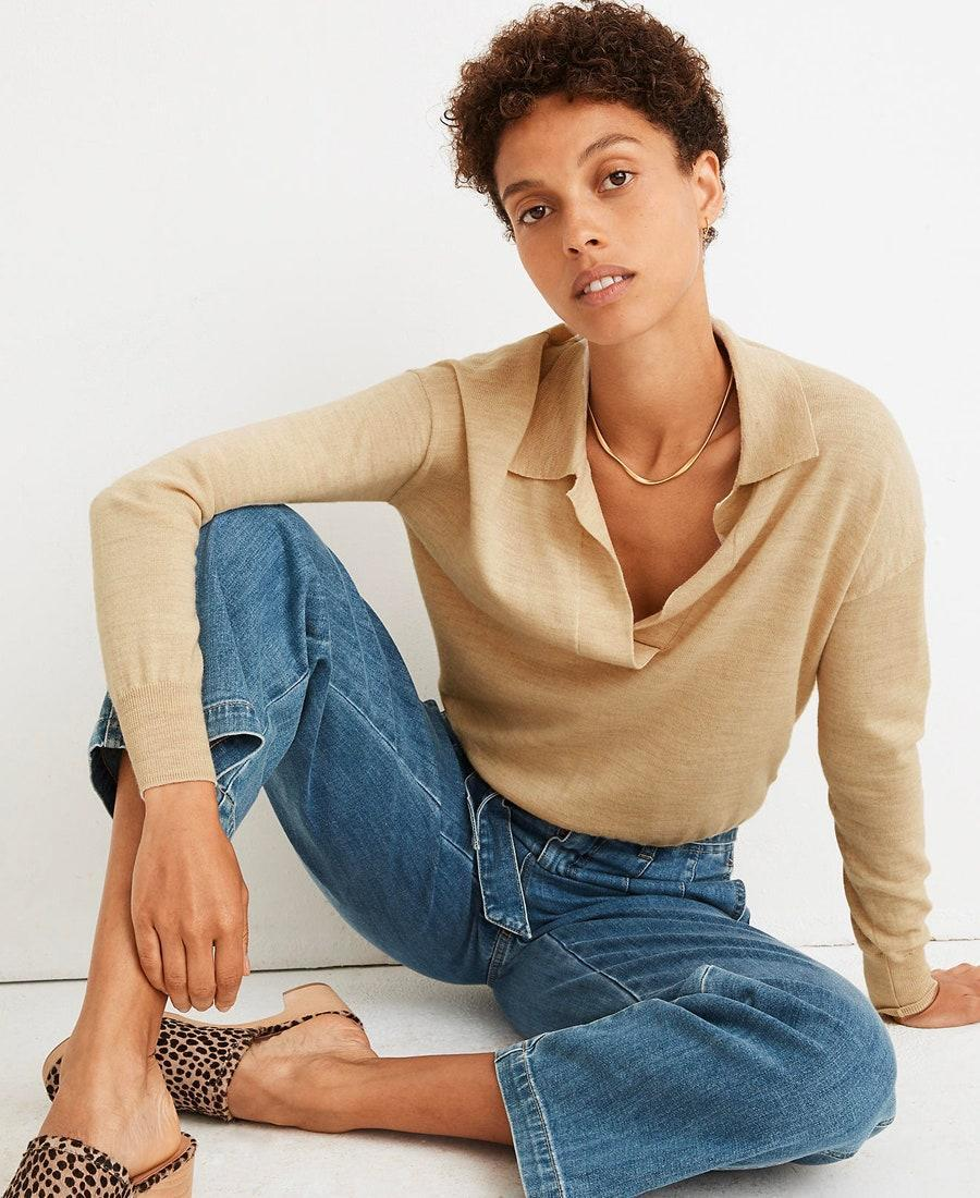 """A less fussy way to make your own Billie Jean King moment. We're 40 (in) love with the knitted polo trend. $80, Madewell. <a href=""""https://www.madewell.com/polo-sweater-MA692.html?"""" rel=""""nofollow noopener"""" target=""""_blank"""" data-ylk=""""slk:Get it now!"""" class=""""link rapid-noclick-resp"""">Get it now!</a>"""