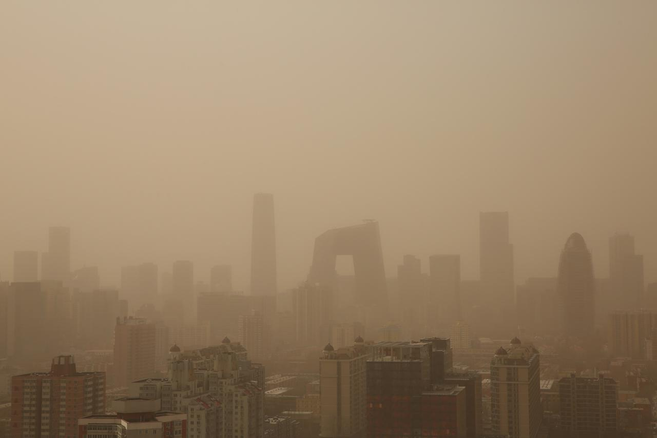 BEIJING, CHINA - FEBRUARY 28:  A general view of the skyscrapers in the sandstorm on February 28, 2013 in Beijing, China. Beijing was hit by its first sandstorm of the year while its air quality reached dangerous level on Thursday.  (Photo by Feng Li/Getty Images)