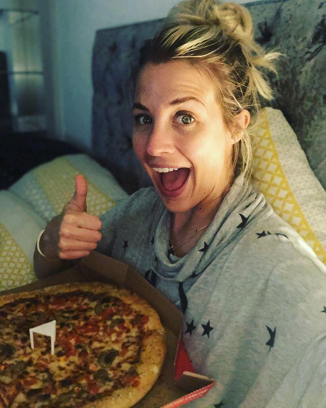 """<p>Sometimes life gets in the way of your normal routine and that's completely fine. It's about what you do 80% of the time that matters more than the occasional time off or slightly less nutrient-dense meal. Pizza, for example? The perfect meal to lie in bed and watch Netflix with, we agree Gem. </p><p><a href=""""https://www.instagram.com/p/CFsHVW5n2Wo/"""" rel=""""nofollow noopener"""" target=""""_blank"""" data-ylk=""""slk:See the original post on Instagram"""" class=""""link rapid-noclick-resp"""">See the original post on Instagram</a></p>"""