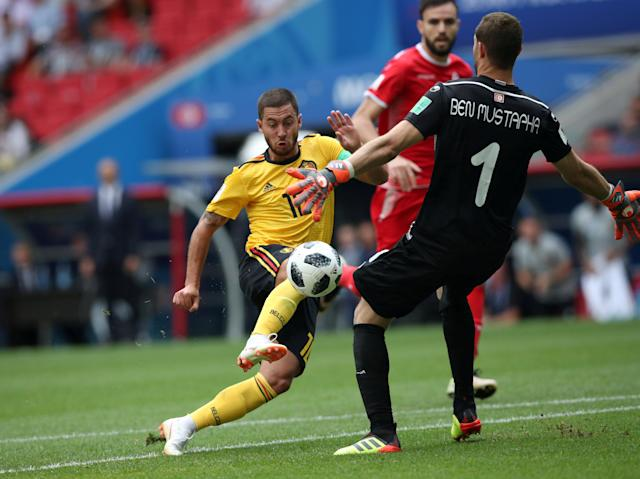 Soccer Football - World Cup - Group G - Belgium vs Tunisia - Spartak Stadium, Moscow, Russia - June 23, 2018 Belgium's Eden Hazard in action before scoring their fourth goal REUTERS/Albert Gea TPX IMAGES OF THE DAY