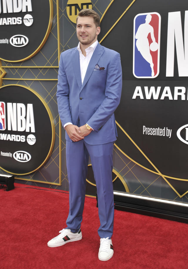 NBA player Luka Doncic, of the Dallas Mavericks, arrives at the NBA Awards on Monday, June 24, 2019, at the Barker Hangar in Santa Monica, Calif. (Photo by Richard Shotwell/Invision/AP)