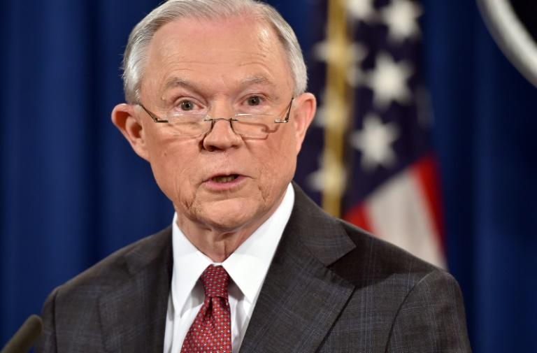 US Attorney General Jeff Sessions speaks during a press conference at the Justice Department in Washington, DC on March 2, 2017