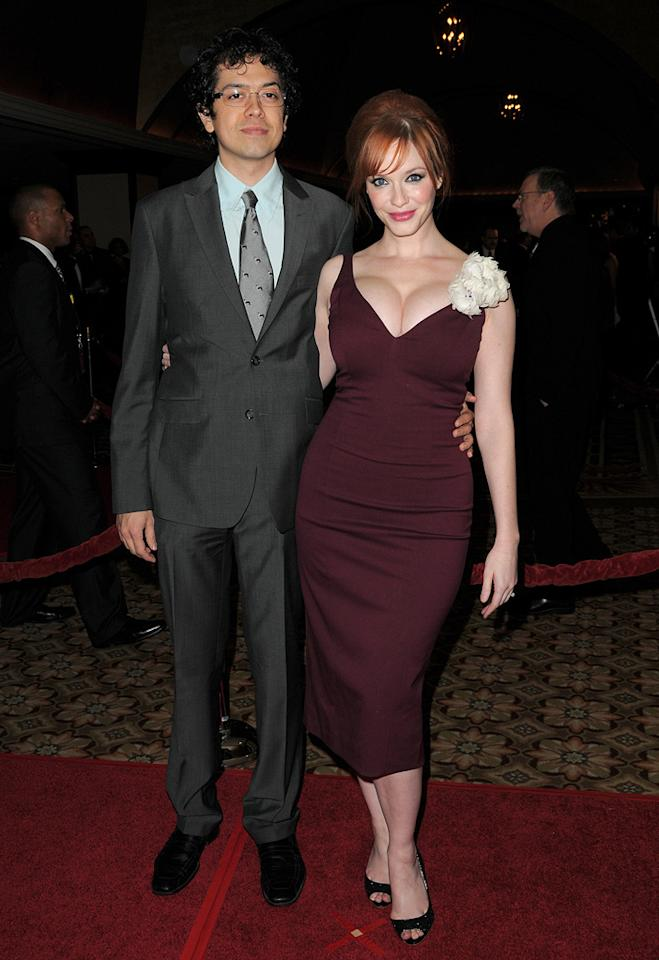 """<a href=""""http://movies.yahoo.com/movie/contributor/1804578203"""">Geoffrey Arend</a> and <a href=""""http://movies.yahoo.com/movie/contributor/1804578067"""">Christina Hendricks</a> at the 62nd Annual Directors Guild of America Awards in Century City, California on January 30, 2010."""